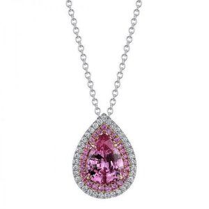 Pink Kunzite And Diamond Necklace Pendant 14K Whit